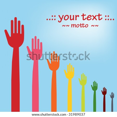 vector version of colorful hands descending graph - stock vector