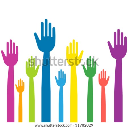 vector version of colorful hands waving - stock vector