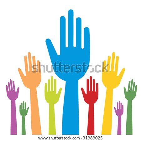 vector version of colorful hands with straight fingers - part 2 - stock vector