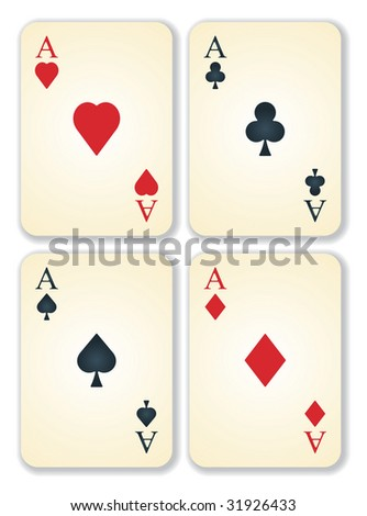 vector version of old vintage aces cards - stock vector