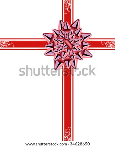 Vector version. Red bow with ribbons isolated on white