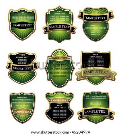 Vector version. Set of green and gold labels for design food and beverages. Jpeg version is also available