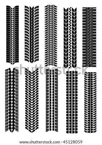 Vector version. Set of tire shapes isolated on white for design. Jpeg version is also available - stock vector