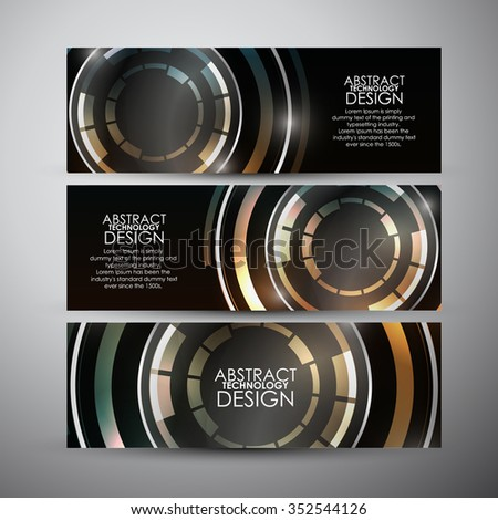 Vector vertical banners set with Abstract colorful  Modern technology circles background. - stock vector