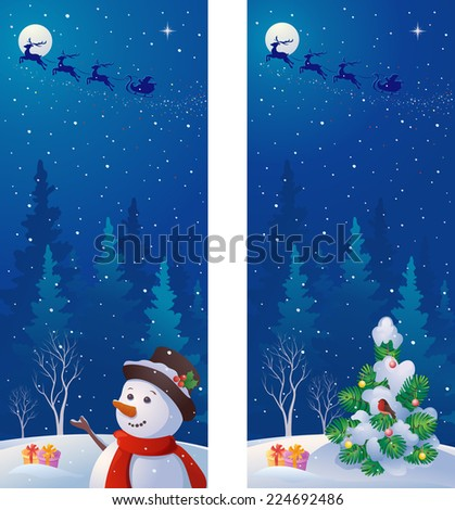 Vector vertical banners with greeting snowman, Santa Claus sleigh and snow covered Christmas landscape - stock vector