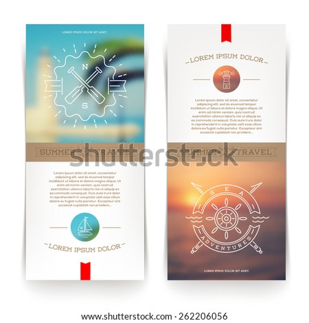 Vector vertical banners with line drawing Nautical and travel signs and emblems - stock vector