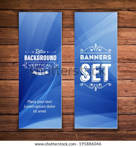 Vector vertical banners with smooth abstract blue background - stock vector