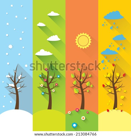 vector vertical banners with winter, spring, summer, autumn trees.