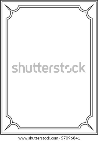 Vector vertical border frame on white background