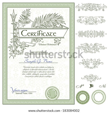 vector vertical green certificate template with additional design elements - stock vector