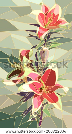 Vector vertical mosaic with large cells of pink lily on green. - stock vector