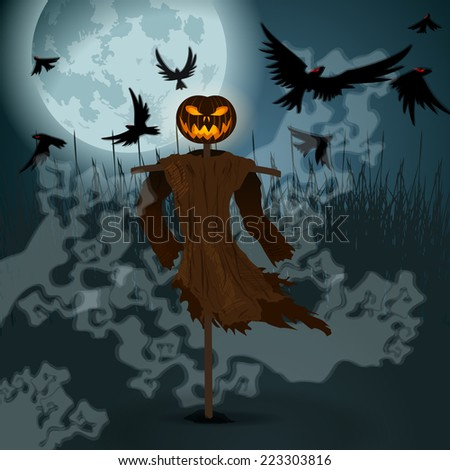 Vector very detailed, dark, hand drawn style, Halloween illustration with evil scarecrow, full Moon and crows - stock vector