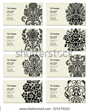 Vector Victorian Business Card Set. Easy to edit. - stock vector