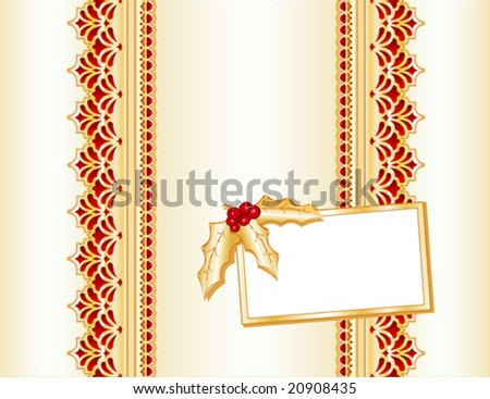 vector - Victorian Style crimson & gold, satin and lace present, gift card with holly. Copy space for your message for Christmas, holidays & celebrations. EPS8 organized in groups for easy editing. - stock vector