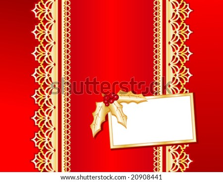 vector - Victorian Style gold lace & red satin present, gift card with holly. Copy space for your message for Christmas, holidays & celebrations. EPS8 organized in groups for easy editing. - stock vector