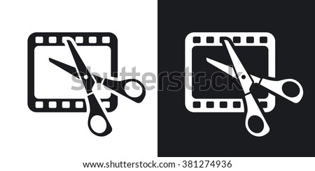 Vector video editing icon. Two-tone version on black and white background