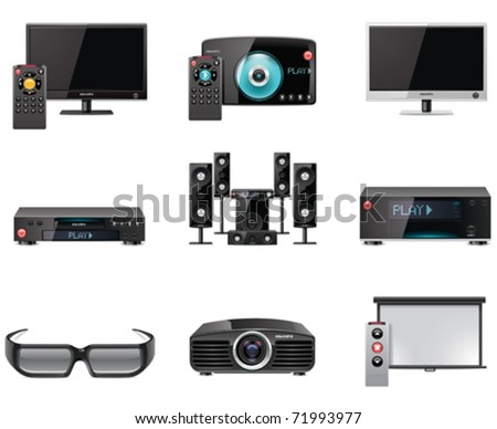 Vector video equipment icon set - stock vector