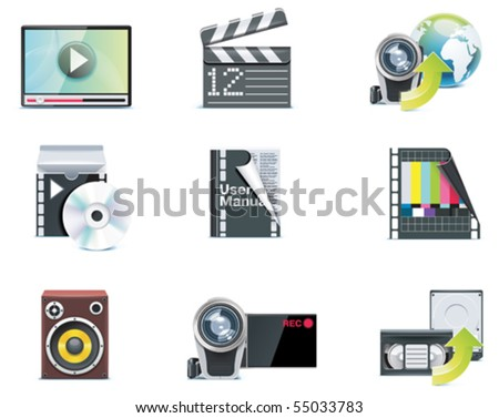 Vector video icons. Part 1 - stock vector