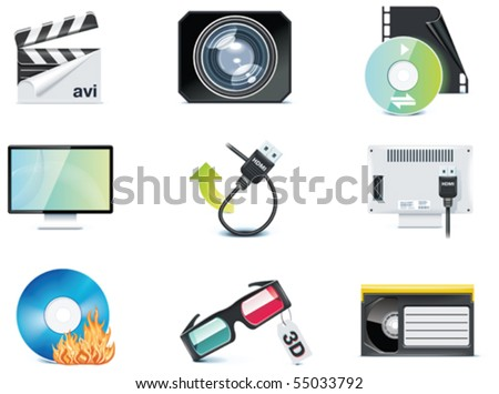 Vector video icons. Part 4 - stock vector