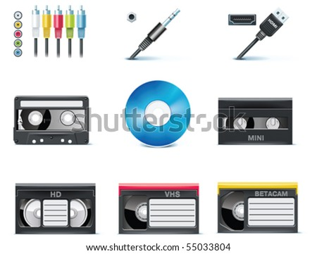 Vector video icons. Part 8 - stock vector