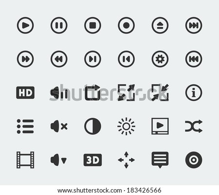 Vector video player mini icons set - stock vector