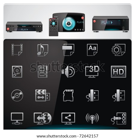 Vector video players features and specifications icon set - stock vector