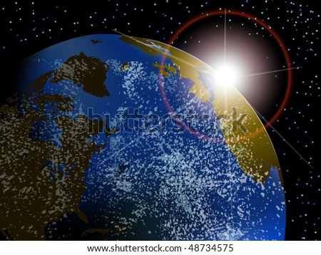 Vector view of earth with sunrise in space with stars - stock vector
