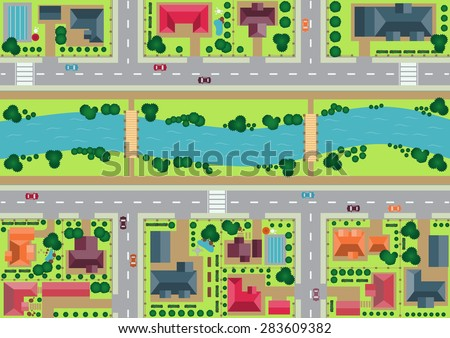 Vector village view from top flat graphic - stock vector