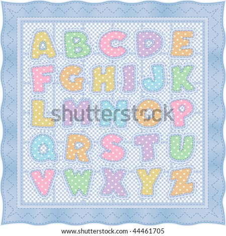 vector - Vintage Alphabet Quilt pattern and baby blanket design in blue pastels, polka dots, checks & gingham with blue satin ribbon edging. EPS8 organized in groups for easy editing. - stock vector