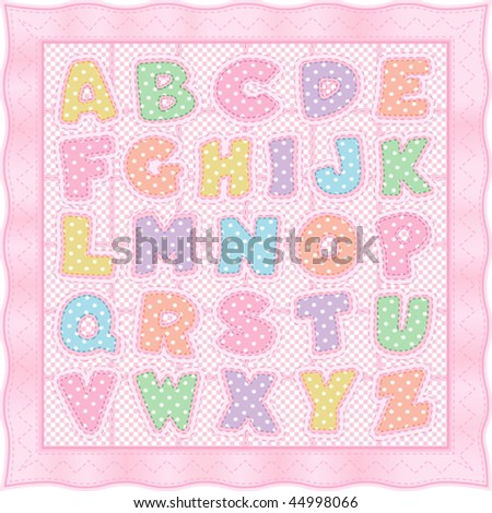 vector - Vintage Alphabet Quilt pattern and baby blanket design in pink pastels, polka dots, checks & gingham with pink satin ribbon edging. EPS8 organized in groups for easy editing. - stock vector