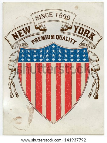 Vector. Vintage American label - stock vector