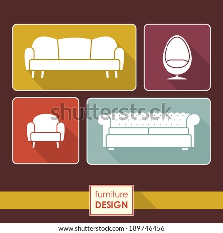 Vector Vintage armchair and sofa icons set. Loft furniture concept - stock vector