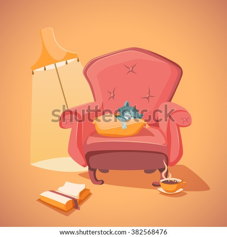 Vector vintage armchair, cozy illustration with sleeping kitten, cup of cacao and a book - stock vector