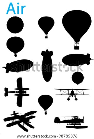 Vector Vintage Aviation Silhouette Set - stock vector