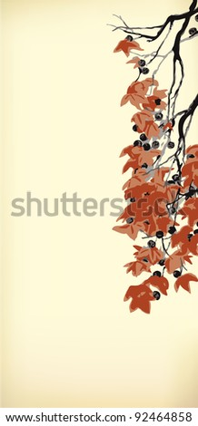 Vector vintage background in Japanese style. Hanging old branches with red leaves and pods - stock vector