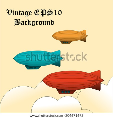 Vector vintage background with colorful zeppelins - stock vector