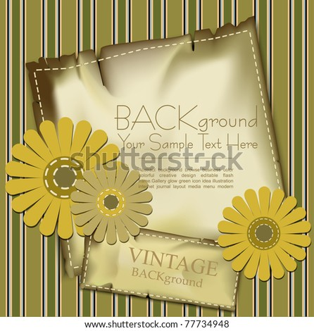 vector vintage background with congratulatory flowers and stripes - stock vector