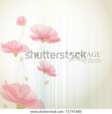 vector vintage background with flowers - stock vector