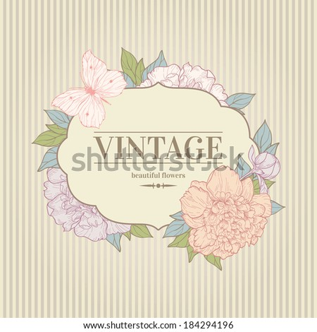 Vector vintage background with peony and butterfly. Use for invitations, greeting cards. - stock vector