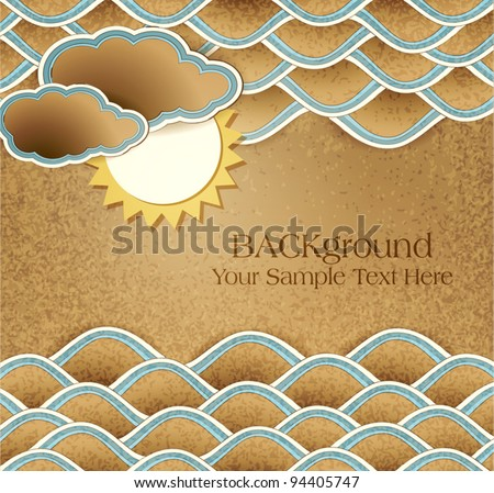 Vector vintage background with sea, clouds and sun on cardboard - stock vector