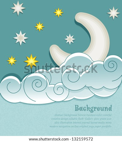 vector vintage background with the moon, clouds and stars - stock vector