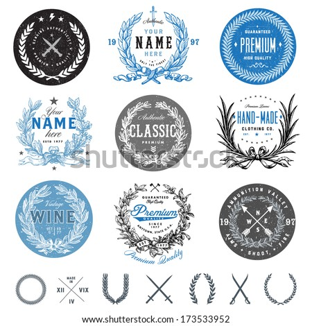 Vector vintage badge set. Great for logos and labels. - stock vector