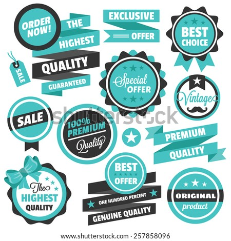 Vector vintage badges, stickers, ribbons, banners and labels. Creative graphic design illustrations. Isolated on white background. - stock vector