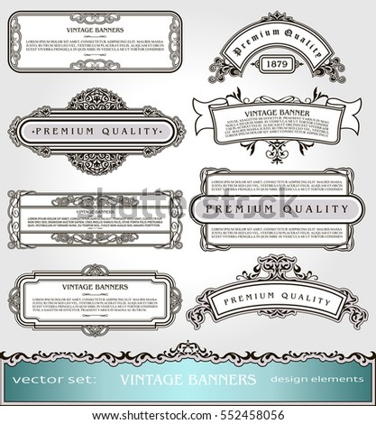 Vector Vintage Banners,Borders and Frames set, Victorian book covers and pages decorations, Floral style ornamental decor, creative design elements for books, certificates, awards and diplomas