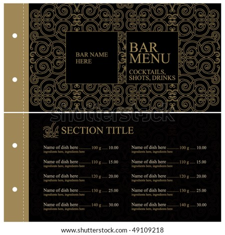 Vector. Vintage bar menu. Full design concept - stock vector