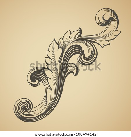 vector vintage Baroque design frame pattern element engraving retro style scroll - stock vector