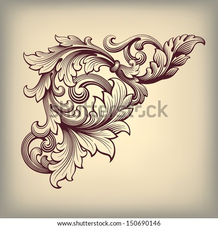 vector vintage Baroque scroll design frame corner pattern element engraving retro style ornament - stock vector