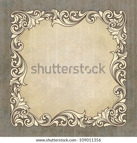 Vector vintage border frame engraving at grunge background with retro ornament pattern in antique baroque style decorative design invitation card - stock vector