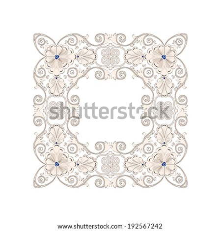 Vector vintage border frame engraving with retro floral ornament pattern in antique byzantian style decorative design  - stock vector