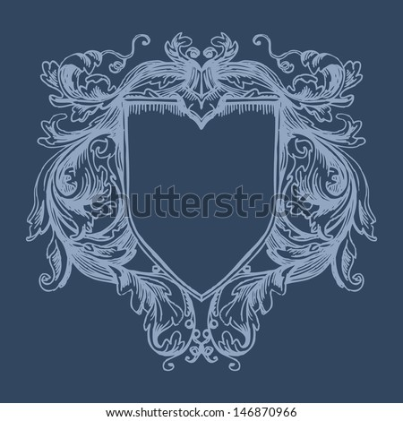 Vector vintage border frame engraving with retro ornament pattern in antique baroque style decorative design. Elegant baroque ornate. Curves engraving frames. Coat of Arms - stock vector